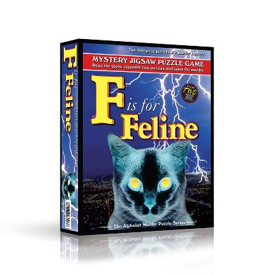 TDC Games Alphabet Mystery Puzzle - F is for Feline - Includes Short Mystery Booklet and Two 500 piece Puzzles with Clues