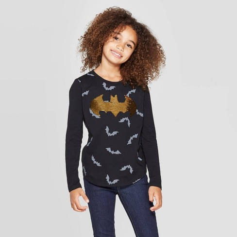 Girls' Batman Halloween Flip Sequin Long Sleeve T-Shirt - Black - image 1 of 4
