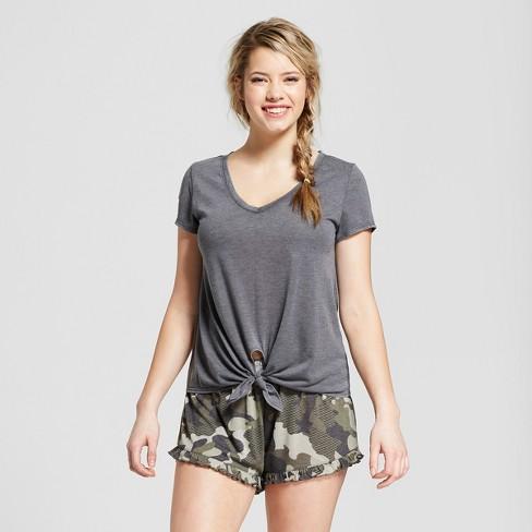 ba4751ed4e Women s Camo Print V-Neck T-shirt and Ruffle Shorts Pajama Set - Xhilaration™  Essential Gray
