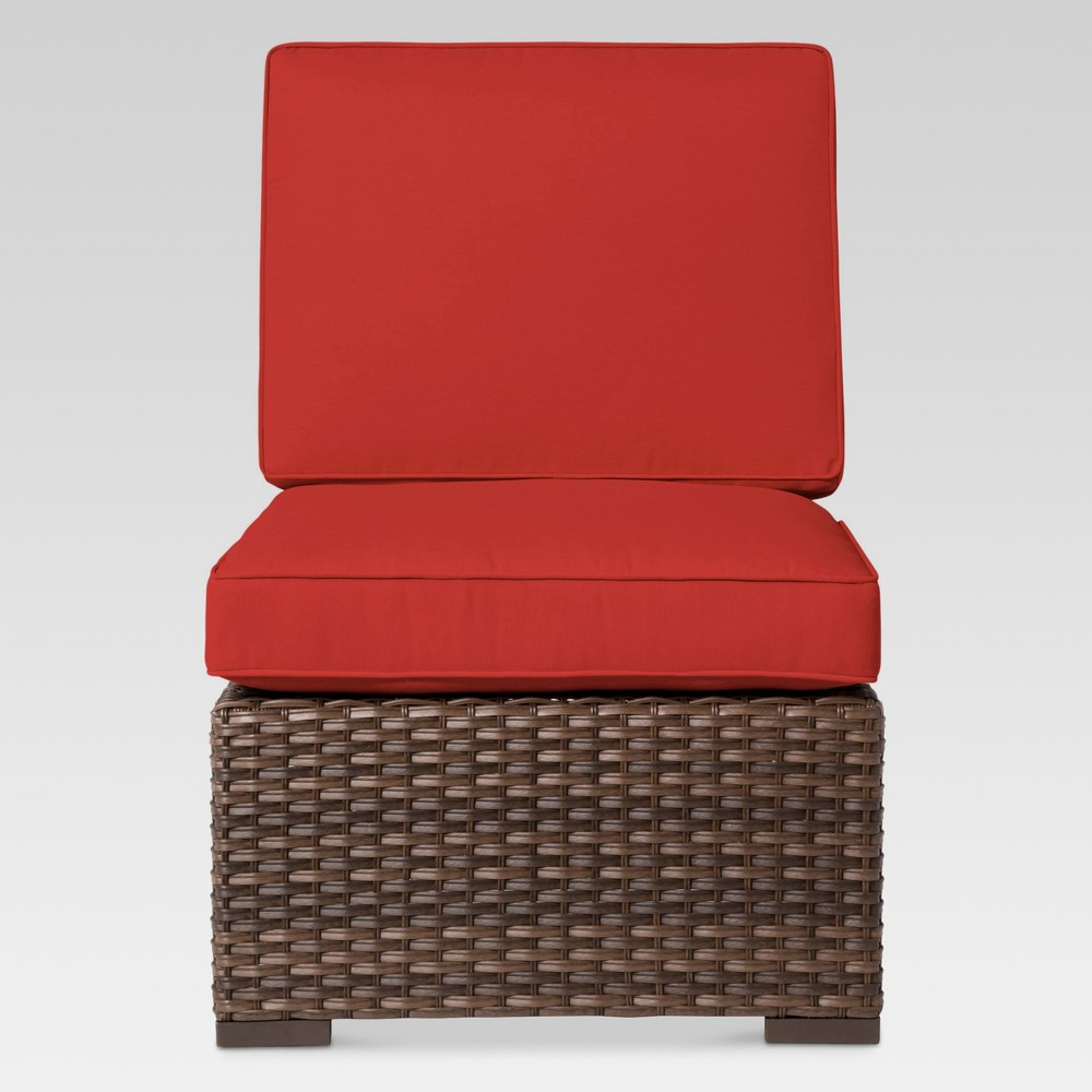 Halsted Wicker Patio Armless Sectional Seat - Red - Threshold