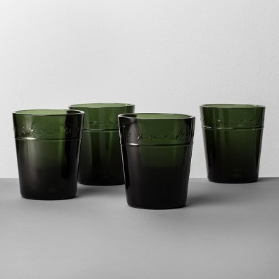 4pk X Pattern Juice Glass Green - Hearth & Hand™ with Magnolia