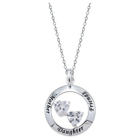 "Women's Sterling Silver Mother Daughter Heart Necklace - Silver (18"") - image 1 of 2"