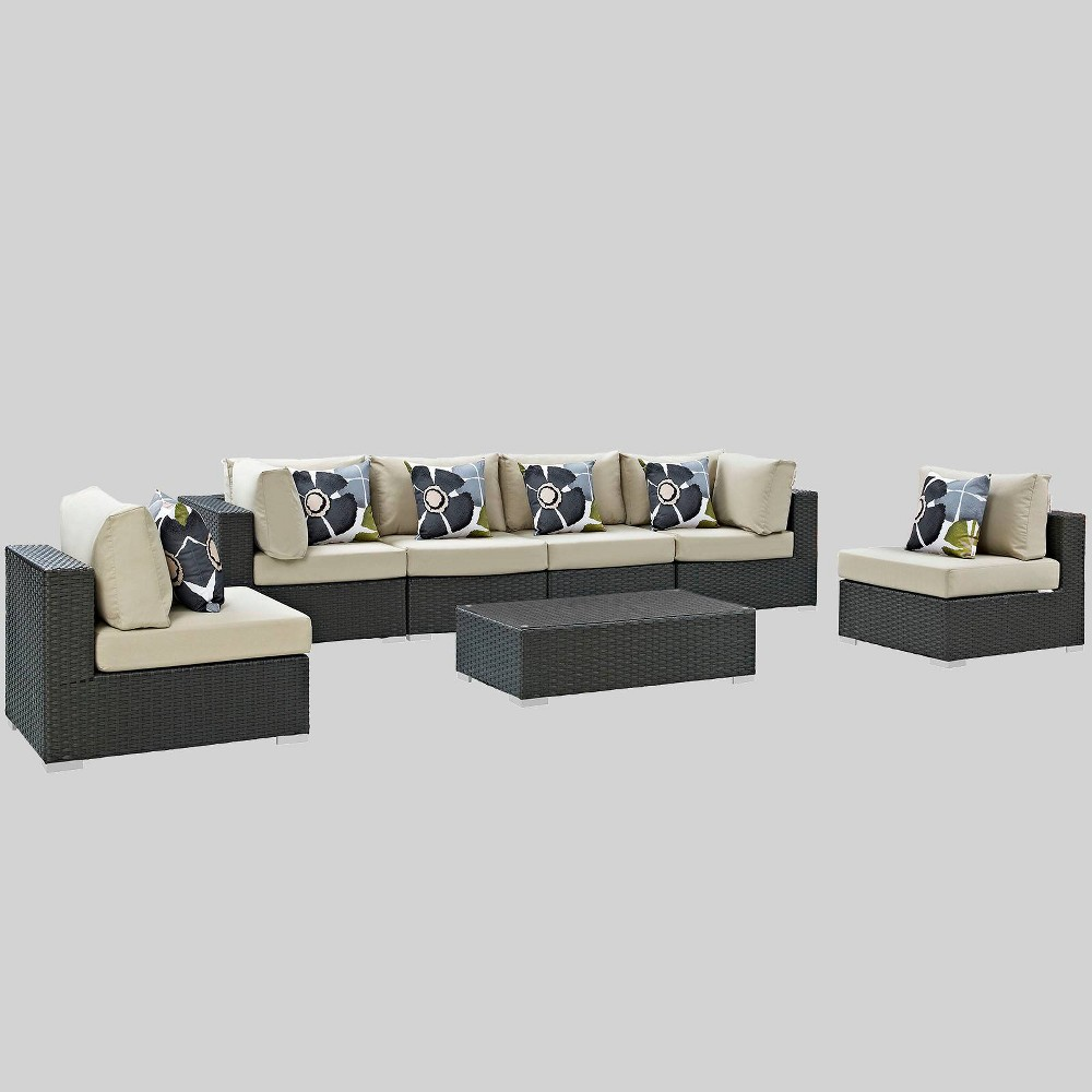 Sojourn 7pc Outdoor Patio Sunbrella Sectional Set in Canvas - Beige - Modway
