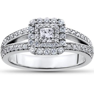 Pompeii3 1 ct Princess Cut Diamond Double Halo Engagement Ring 14k White Gold