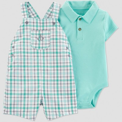 Baby Boys' 2pc Plaid Anchor Shortall Set - Just One You® made by carter's Green 6M