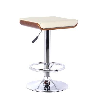 Etowah Barstool with Chrome Finish Walnut/Cream - Armen Living
