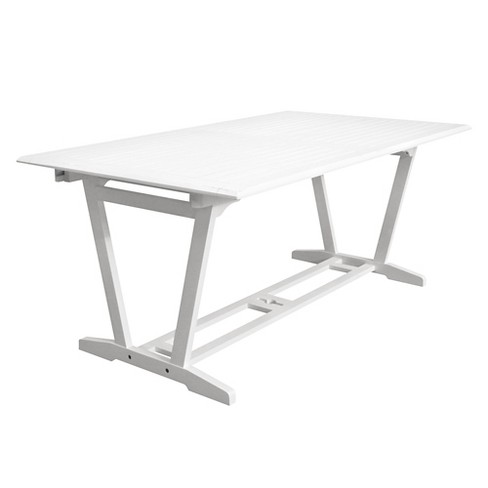Vifah Bradley Eco-friendly Outdoor White Hardwood Rectangular Extention Garden Table - image 1 of 3