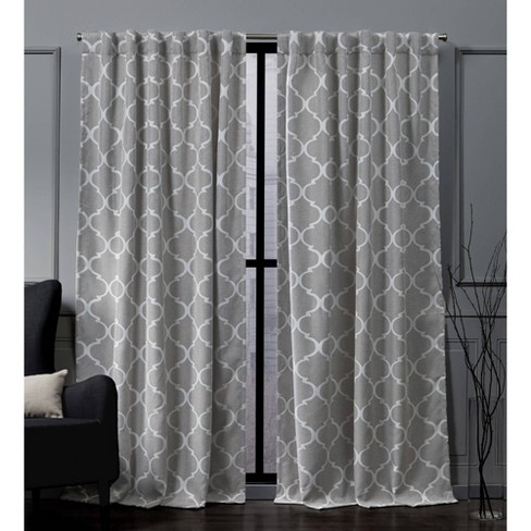 Treillage Back Tab Blackout Window Curtain Panels - Exclusive Home - image 1 of 4
