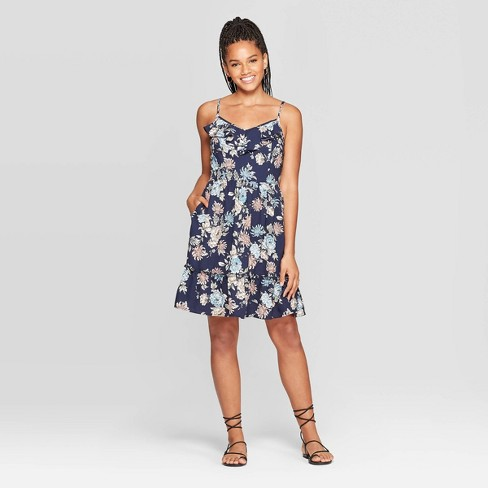 Women's Floral Print Sleeveless Deep V-Neck Ruffle Front Mini Dress - Xhilaration™ Navy - image 1 of 2