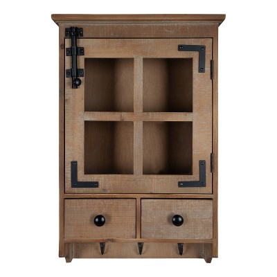 Hutchins Decorative Farmhouse Wood Wall Cabinet with Window Pane Glass Door Rustic Brown - Kate & Laurel All Things Decor