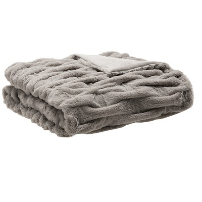Gray Ruched Faux Fur Throw (60 x50 )