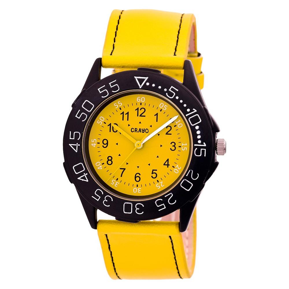 Women's Crayo Fun Leather Strap Watch-Yellow, yellow