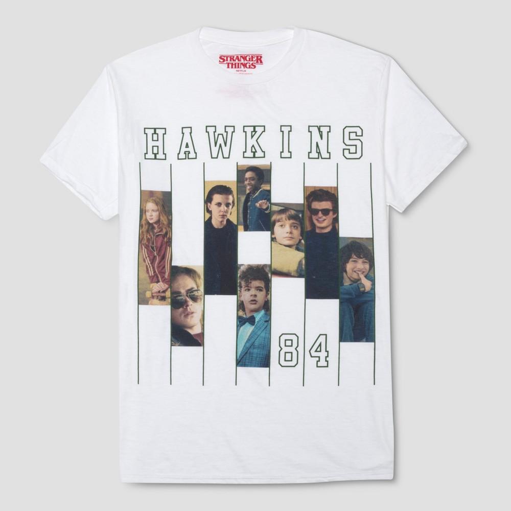 Men's Stranger Things Hawkins 84 Short Sleeve T-Shirt- Origami White XL