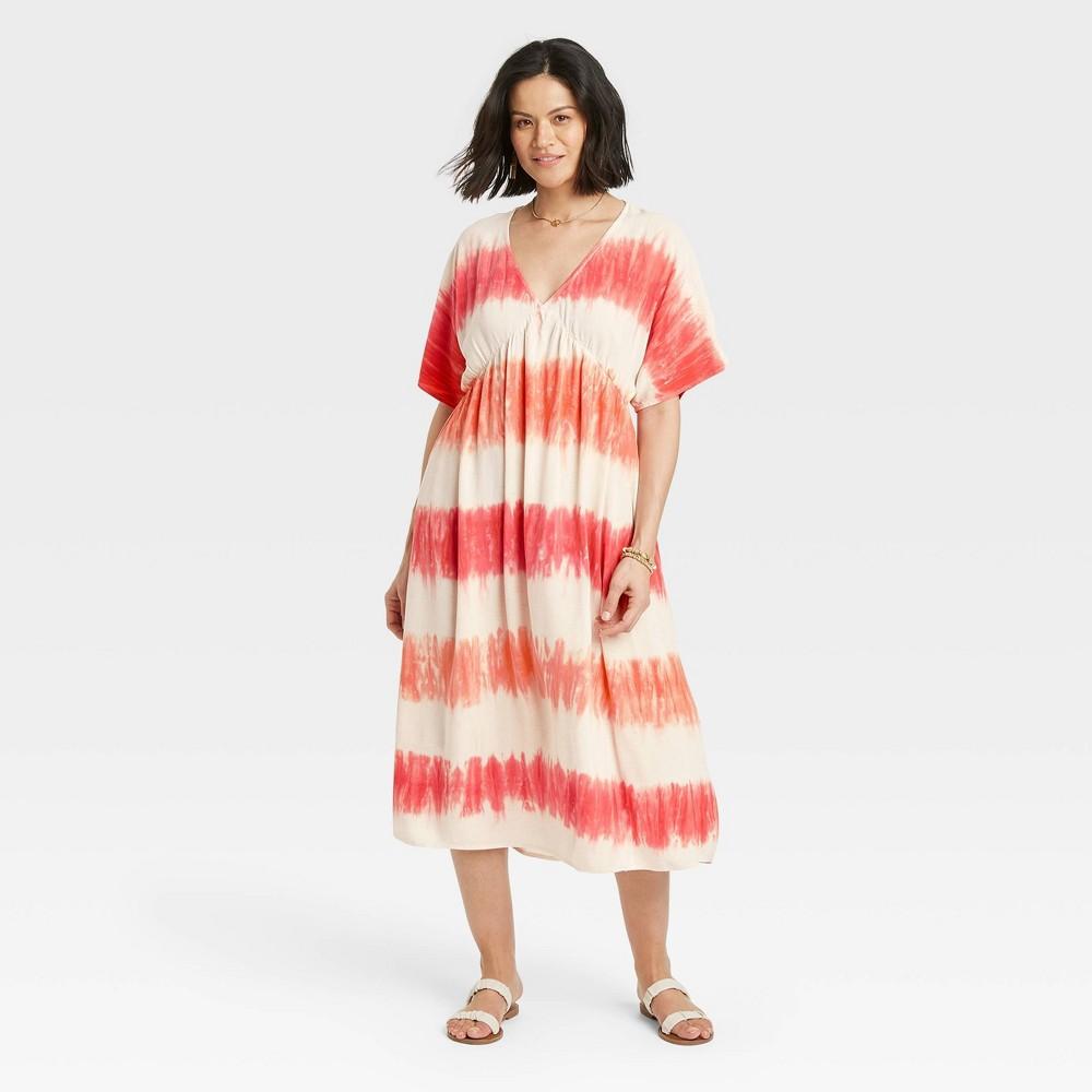 Women 39 S Tie Dye Short Sleeve Kimono Dress Knox Rose 8482 Peach M