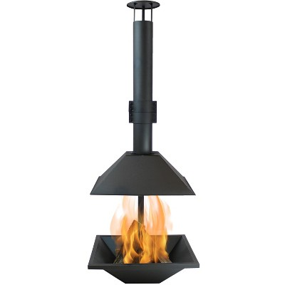"""Sunnydaze Outdoor Backyard Patio Modern Style Steel Wood-Burning Fire Pit Chiminea with Open Sides - 80"""" - Black"""