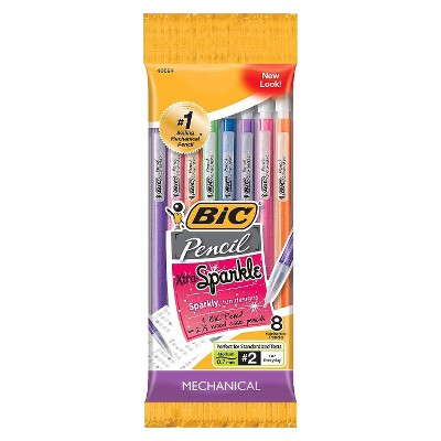 BIC #2 Xtra Sparkle Mechanical Pencils, 0.7mm, 8ct - Multicolor