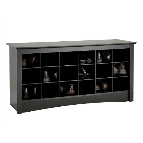 Shoe Storage Cubbie Bench Black Prepac