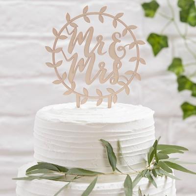 Ginger Ray Wooden Mr. And Mrs. Script Cake Topper Beautiful Botanics