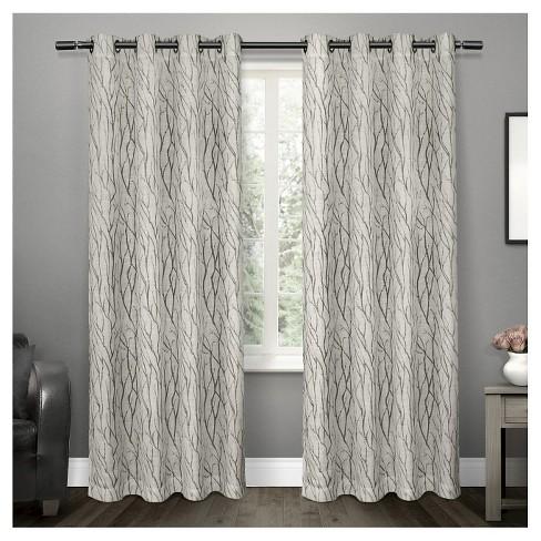 Oakdale Textured Linen Motif Grommet Top Window Curtain Panel Pair Exclusive Home - image 1 of 4