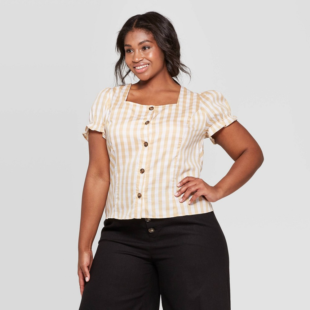 Women's Plus Size Gingham Short Puff Sleeve Square Neck Button Front Top - Who What Wear White 3X