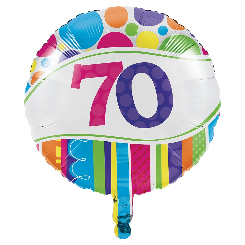 Bright And Bold 70th Birthday Mylar Balloon