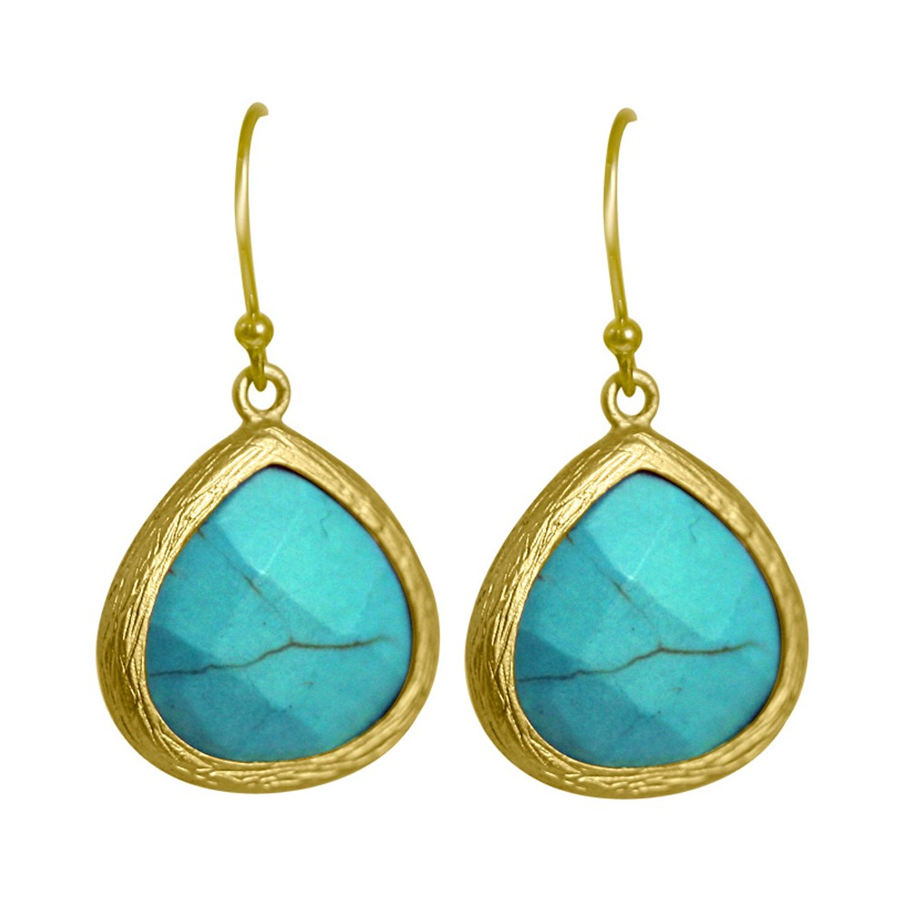 Zirconite Pear Shape Drop Earrings - Turquoise