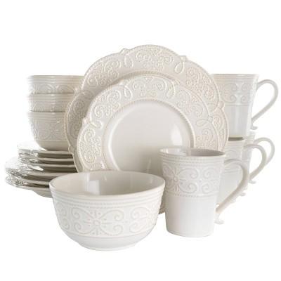 16pc Stoneware Luna Scalloped Dinnerware Set White - Elama