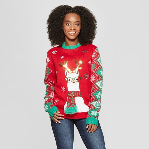 Adult Llama Family Ugly Christmas Sweater 33 Degrees Red Target