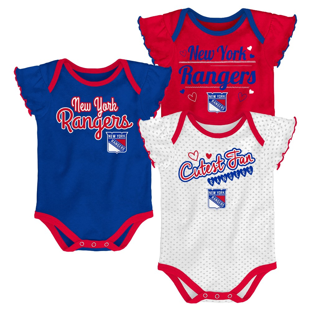 New York Rangers Girls' Winning Goal 3pk Body Suit Set 12 M, Size: 12M, Multicolored