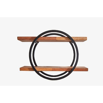 "12"" Round Wood Shelving Wall Display Black/Brown - Ore International"
