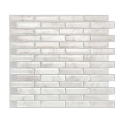 "Smart Tiles 3D Peel and Stick Backsplash 4 Sheets of 10.20"" x 9"" Kitchen and Bathroom Wallpaper Milenza Bari"