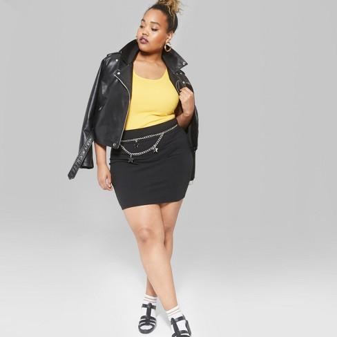135fae12eb09b Women s Plus Size Bodycon Mini Skirt - Wild Fable™ Black   Target