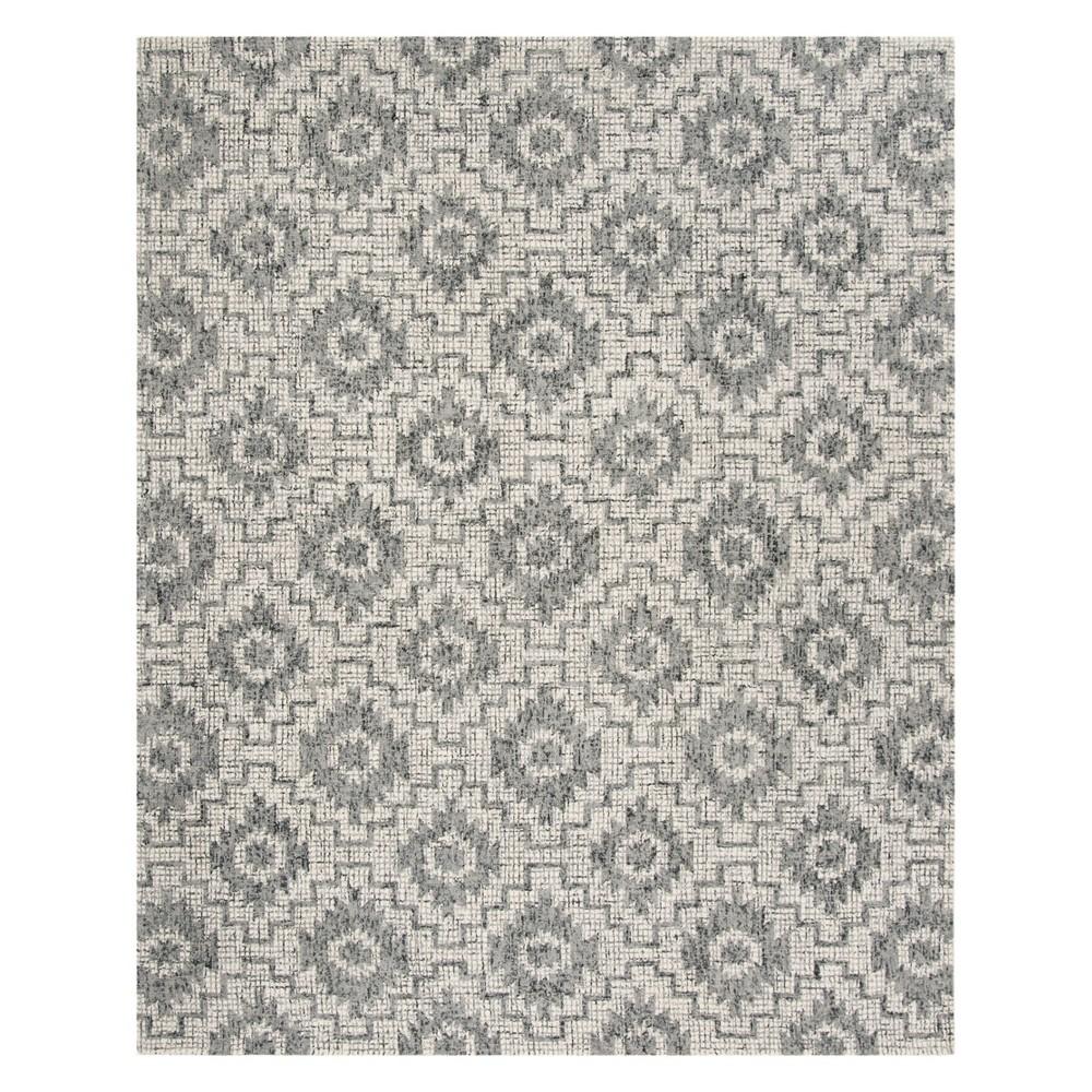 8'X10' Tribal Design Tufted Area Rug Ivory/Dark Gray - Safavieh, Gray White