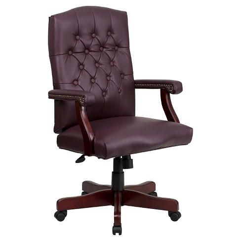 Martha Washington Burgundy Leather Swivel Office Chair - Flash Furniture - image 1 of 4