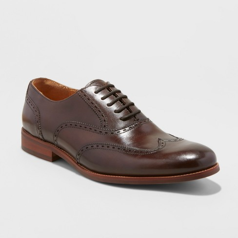 Men's Walton Leather Wingtip Dress Shoes - Goodfellow & Co™ Brown - image 1 of 3