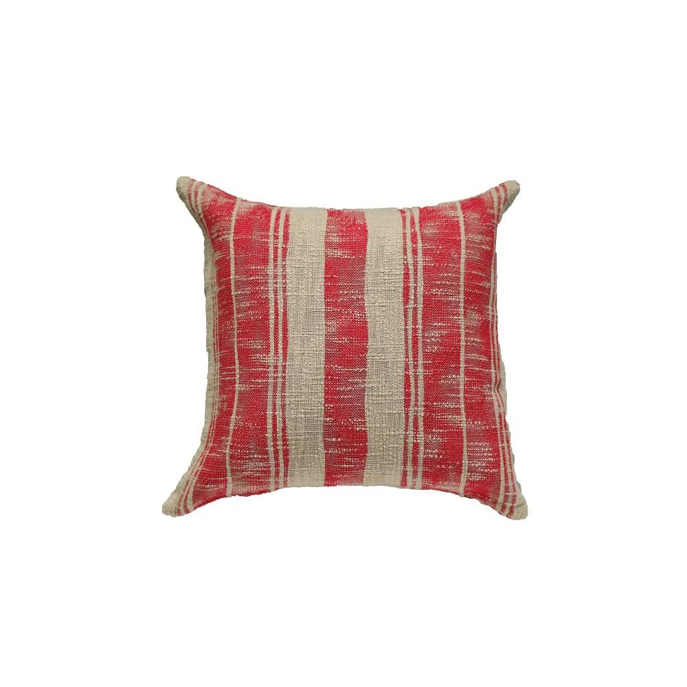 Cotton Striped Throw Pillow - Red - 3R Studios