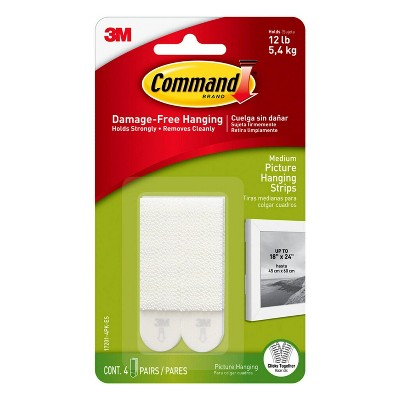 Command 4 Sets Medium Sized Picture Hanging Strips White