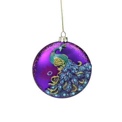 """Northlight 4"""" Glittered Purple and Green Peacock Glass Disc Christmas Ornament - image 1 of 2"""