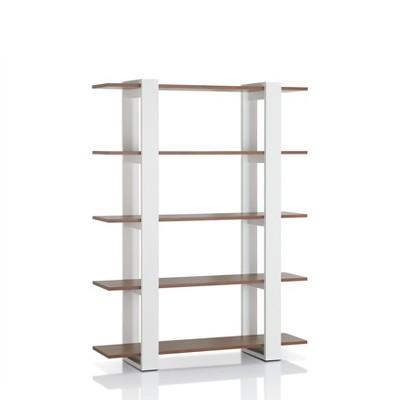"62.4"" Talia 5 Shelf Bookcase Walnut/White - miBasics"