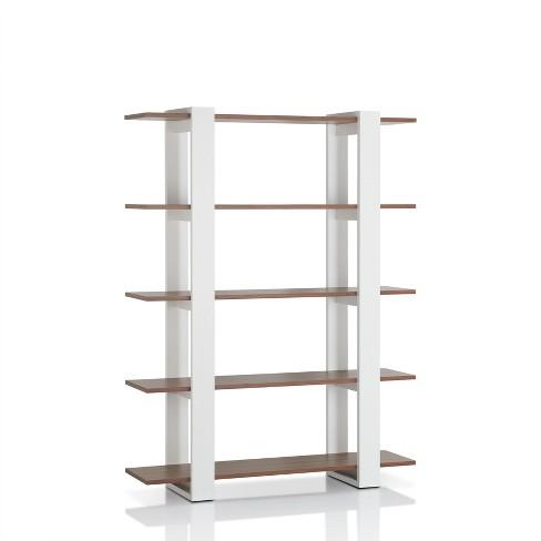 """62.4"""" Talia 5 Shelf Bookcase Walnut/White - miBasics - image 1 of 3"""