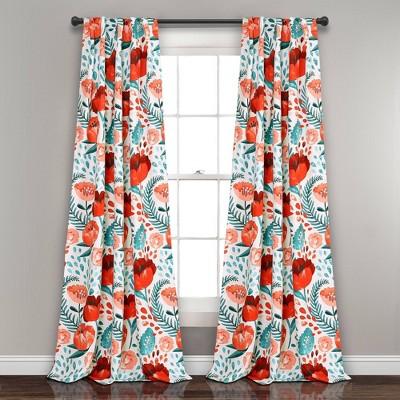 """Set of 2 84""""x52"""" Poppy Garden Room Darkening Window Curtain Panels White/Coral - Lush Décor"""