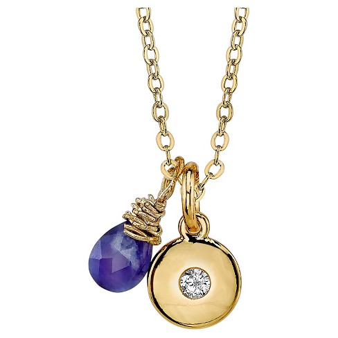 """Women's Silver Plated Sodalite Briolette Charm Necklace - Gold (18"""") - image 1 of 2"""