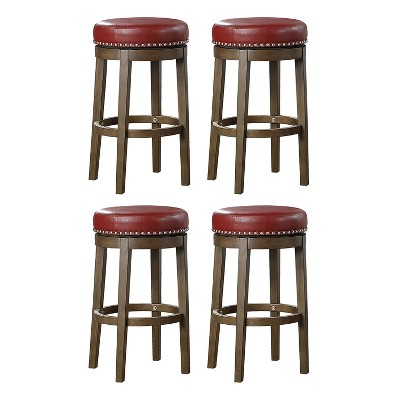 Lexicon Whitby 30.5 Inch Pub Height Round Swivel Seat Bar Stool, Red (4 Pack)