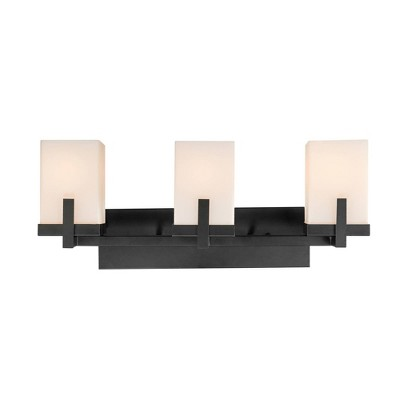 3 Light Helena Vanity with Square Frosted Glass Shades Dark Bronze - Globe Electric
