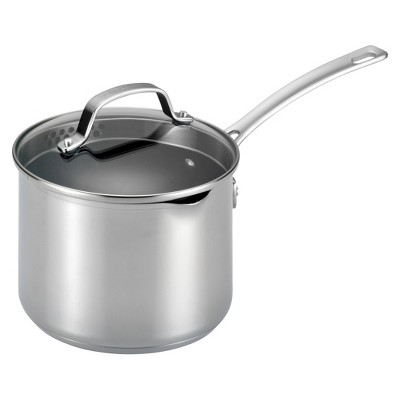 Circulon Genesis 3 Quart Stainless Steel Covered Straining Saucepan - Silver
