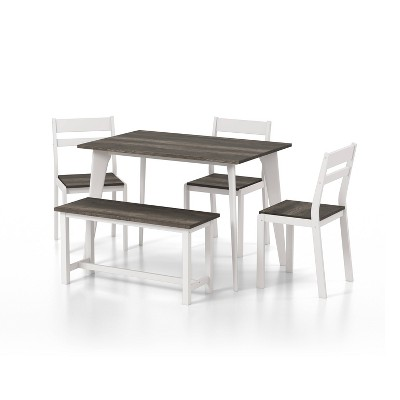 5pc Miley Ladder Back Dining Table Set with Bench - HOMES: Inside + Out