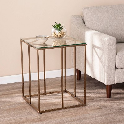 Nicholas Contemporary End Table with Glass Top Champagne - Aiden Lane