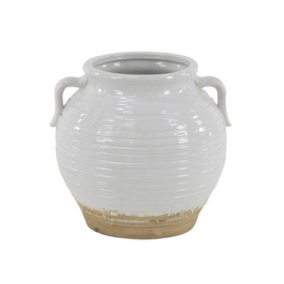 Ceramic Planter with Side Pot Handles White - Olivia & May