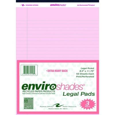 Enviroshades Legal Pads, 8-1/2 x 11-3/4 Inches, Pink, 50 Sheets, pk of 3