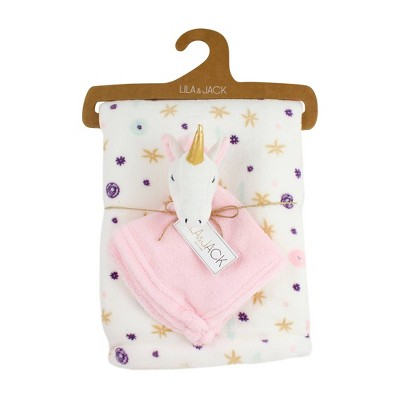 Lila and Jack White with Yellow and Purple Floral Fleece Kids' Throw with White and Pink Unicorn Lovey Set